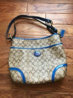Blue and Tan Coach Purse
