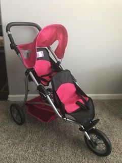 Doll toy double jogging stroller