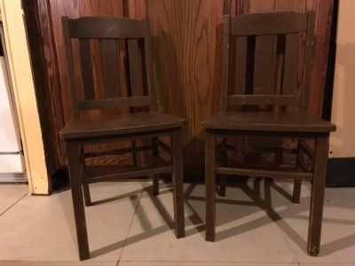2 Solid Wood Antique chairs need painted or stained, $30 for both 34 T 18 to seat from floor