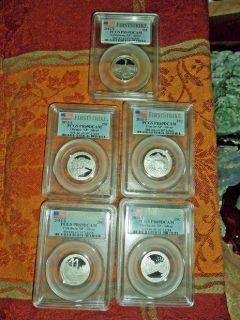 America the Beautiful National Park Silver Quarters PCGS PR 69 DCAM  F/S 5 Piece Coin Set 2011 s