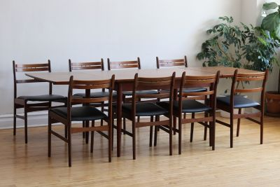 Mid Century Danish Modern 8 Chair Teak Dining Set