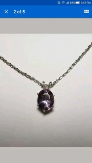 Natural Oval Amethyst Necklace, 2.6cts