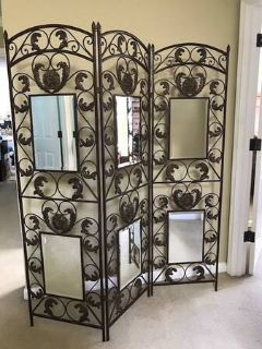 Beautiful Bronze Metal 3-Panel Room Divider