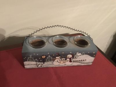 Christmas Snowman Candle Holder, Wood