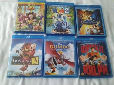 6 Disney Movies Blu-Ray and DVD Beauty Beast Toy Story etc