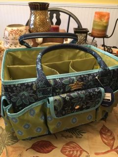 Craft tote with antique tin of old sewing notions (see pics)