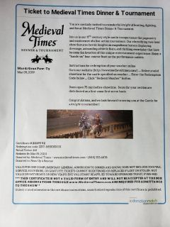 2 tickets to Medieval times
