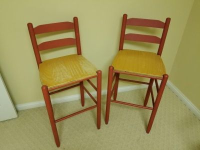 2 RED WOODEN BAR STOOLS