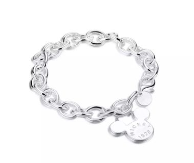 New Womens Mickey Mouse .925 Silver Bracelet
