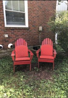 (2) Red Wooden Armchair Style Adirondack Chairs & Cushions from World Market
