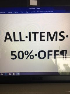 All items 50% off!