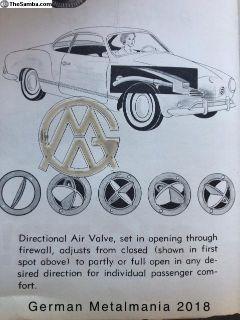 NOS Uni-Vent fresh air kit for Karman Ghia