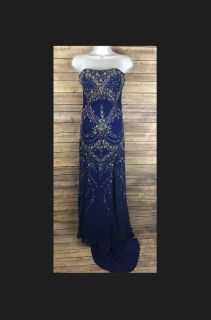 Gorgeous Riva Designs Royal Blue Beaded Gown