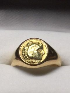 18kt gold coin ring