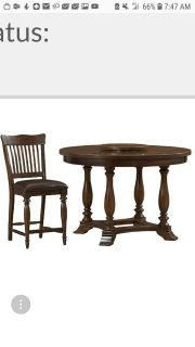 Solid wood pedistal table w 5 chairs