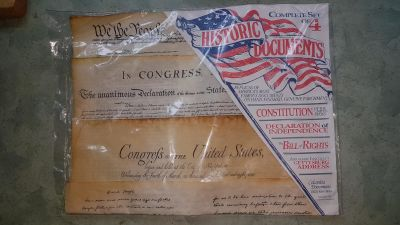 Facsimile set of 4 American Historic Documents - Declaration of Independence, Constitution etc