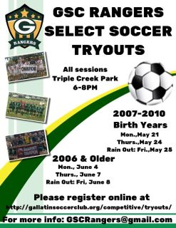 GSC Rangers Select Soccer Tryouts