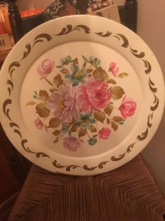 Gorgeous floral painted tray
