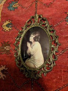 Antique Beveled Glass Picture with Gold Frame