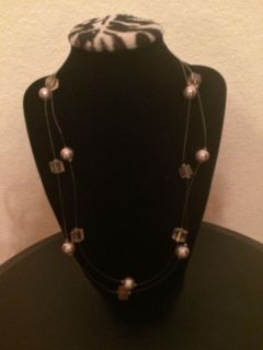 Silver pearl and pink bead