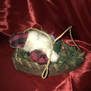Super Cute Light Wood Base Sleigh w/Santa & Hemp Rope Hang ~ From Tree or Any Place to Accent Christmas Decor ~