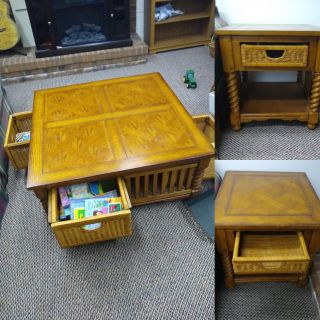 Solid wood coffee table and 2 matching side tables