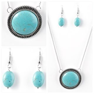 PAPARAZZI OH MY OASIS IN TURQUOISE LING NECKLACE SET NWT