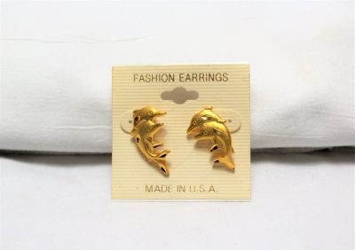 NEW Gold Tone Dolphins Ocean Beach Stud Post Earrings Made in USA Sea