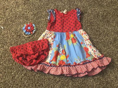 Matilda Jane dress with diaper cover and headband