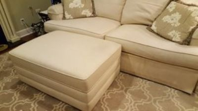 Sofa and ottoman set white like new