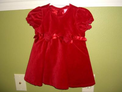 Little Girls Red Dress with bloomers and bow