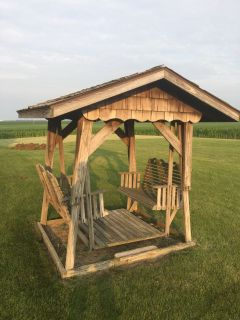 Amish Covered Wooden Double Glider