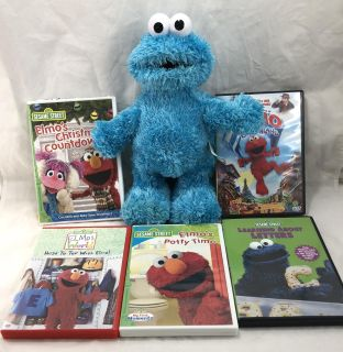Sesame Street Tickle Me Cookie Monster TMX Electronic with Five DVD Movies
