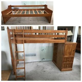 Honey Pine Twin Loft Bed(American Signature) + Day Bed