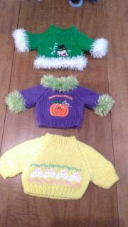 Doll clothes 3 really cute sweaters for holidays.