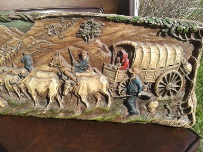$1,000, Vintage V Ivanoff Afrikcaners Wagon Train Syroco Plaque