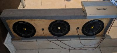 """3 10"""" Kicker subwoofer box with amp $375 OBO"""