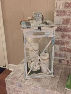 $30 Distressed White/Turquoise Lantern (items inside NOT included) EUC