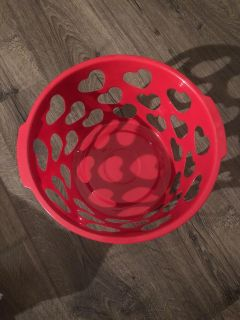 Red basket with hearts