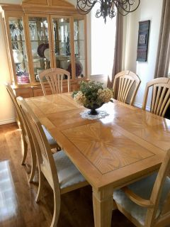 Six chair formal dining table and China cabinet