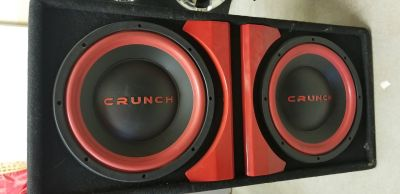 Crunch Subs in box with amp