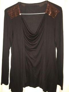 Sz L black dress top with scoop neck and copper sequins on shoulders