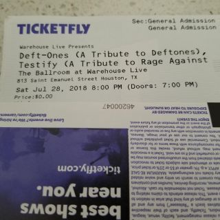 Deft - Ones (tribute to Deftones) Testify (Rage Against Machine) Free Tickets. They will be $10Advance Purchase or $12 at the Door