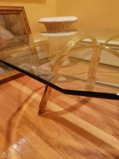 Beautiful Glass and Brass Coffee Table