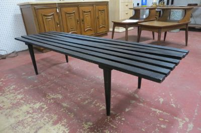 MCM Black Ebonized Wood Slat Bench/Coffee Table