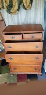 6 drawer rock maple wood chest on chest -