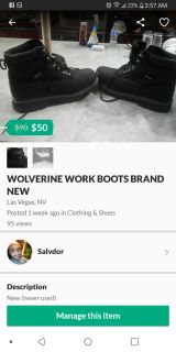 Wolverine work boots never used