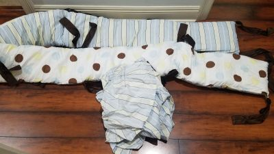 Baby crib bumper and bed skirt
