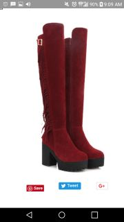 Red knee high boots size 38
