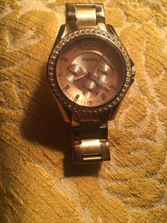 Gold+Rose Gold Fossil Watch